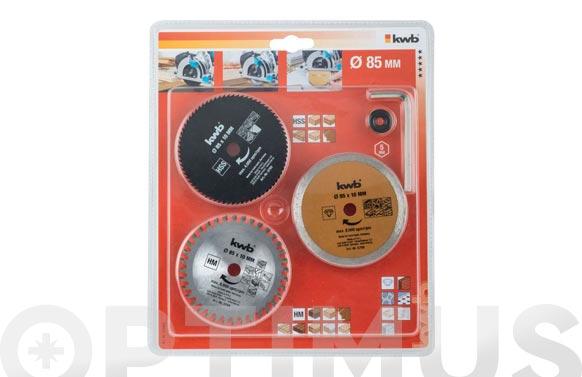 Hoja sierra circular para mini sierra kit 3 discos+llave+arandela