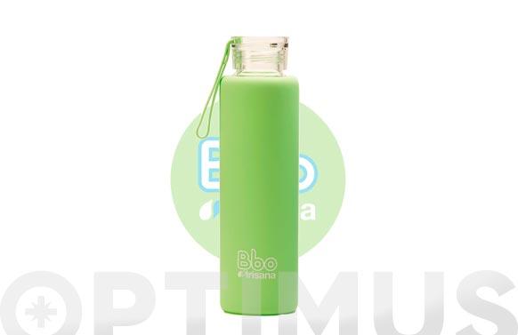 Botella borosilicato con silicona verde 550 ml