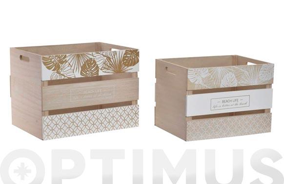 Caja madera (set 2u) hojas blanca