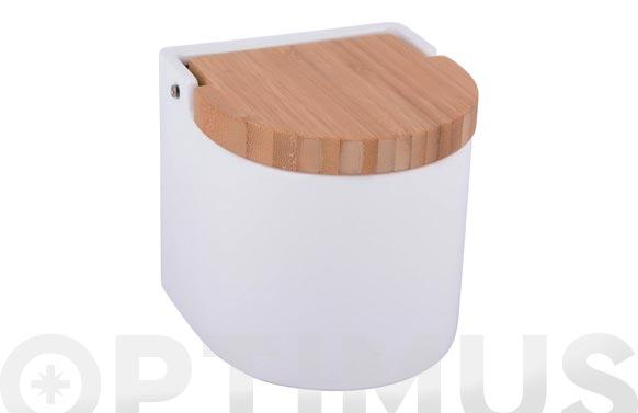 Salero ceramica bambu blanco