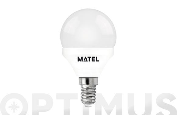 Lampara esferica led al + pc e14 7w luz calida