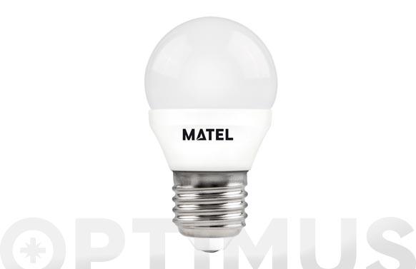 Lampara esferica led al + pc e27 7w luz calida
