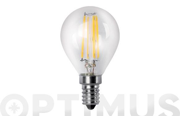 Lampara led esferica clara filamento e14 4 w luz calida