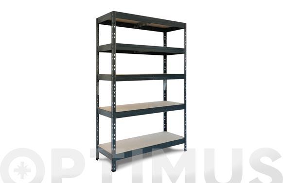 Estanteria metal/aglomerado rivet 120/45 5 baldas 180 x 120 x 50 cm gris antracita