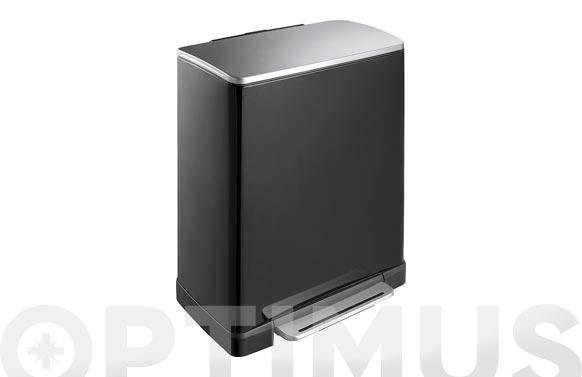 Cubo reciclaje metalico e-cube 28+18 l-negro