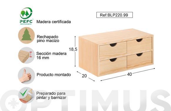 Cajonera pino multi 40x18,5x20 cm block 2x2