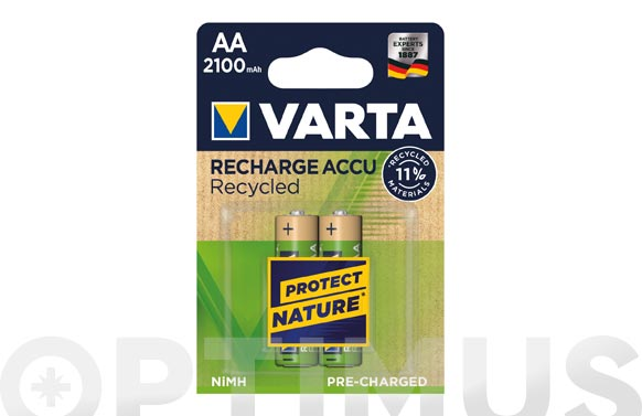 Pila recargable recycled (bl.2) aa 2100 mah