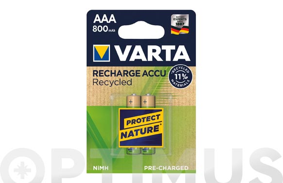 Pila recargable recycled aaa 800 mah 2 unidades