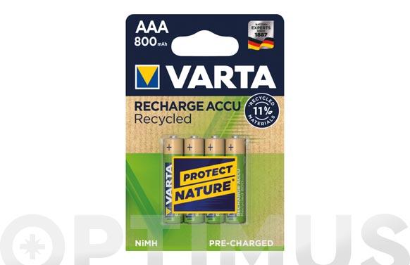 Pila recargable recycled aaa 800 mah 4 unidades