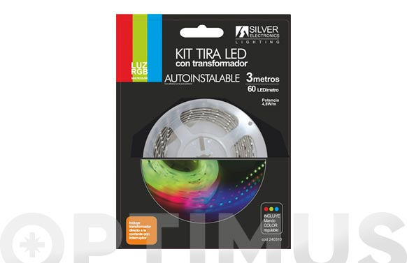 Tira led 3m rgb 7,2w con mando color regulable