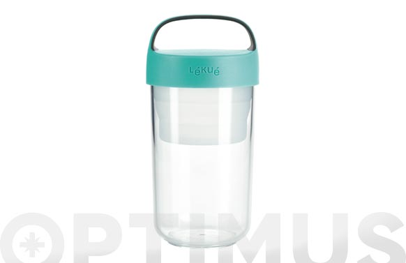 Contenedor alimentos jar to go 600 ml turquesa