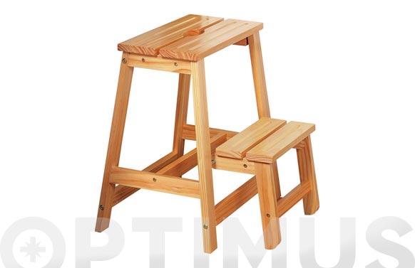 Taburete escalera madera 40x43x49 cm