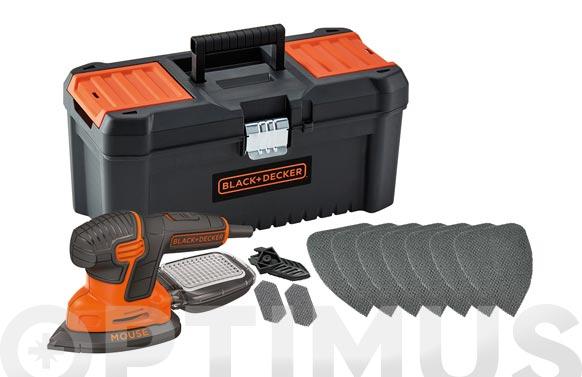 Lijadora con cable orbital mouse 120 w+caja herramientas+10 acc