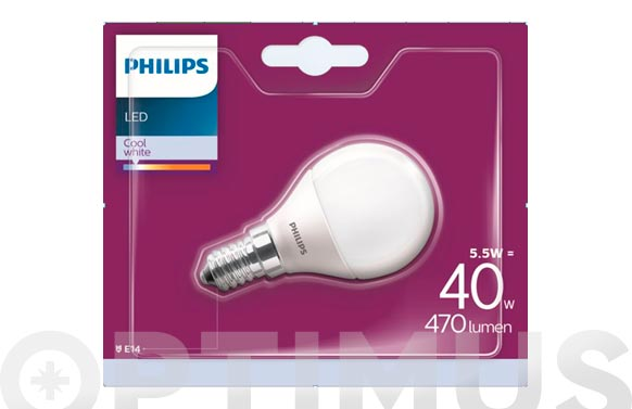 Lampara led standar e14 5,5w luz fria