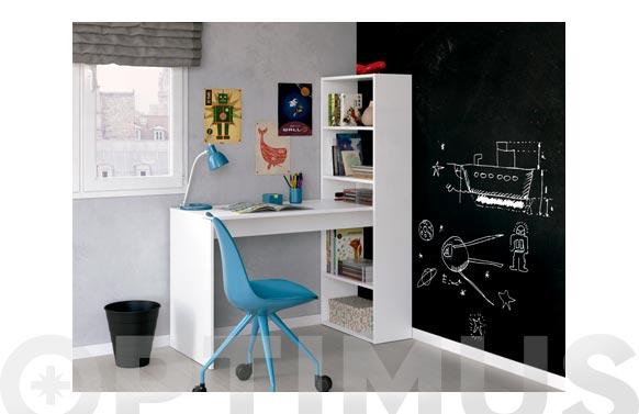 Mesa ordenador con estanteria duplo blanco 144 x 120 x 53 cm