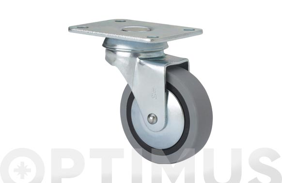 Rueda mueble auxiliar giratoria b goma d50 gris placa 70x55 mm 22 kg
