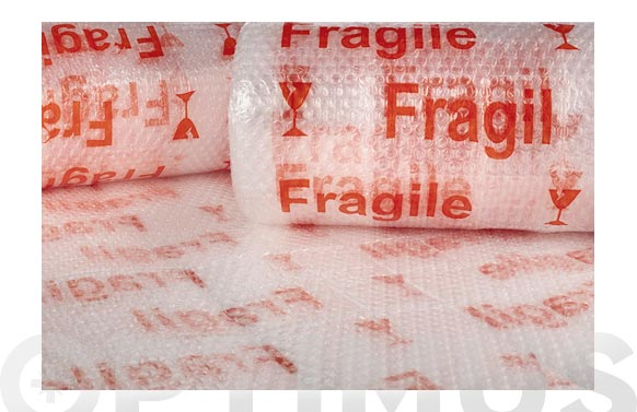 "Plastico de burbuja 40 gr/m2 ""fragil"" 0,6 x 10 m"