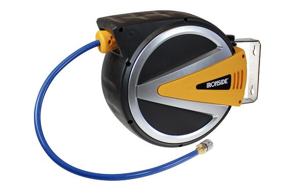 Enrollador manguera aire comprimido 12 m ø 8 x12 con soporte pared. presión: 15 bar