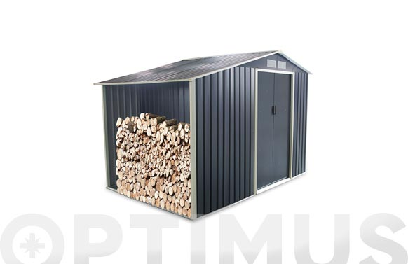 Caseta metalica toronto 3.53m2 con leñero antracit l278 x a127  x h195 cm