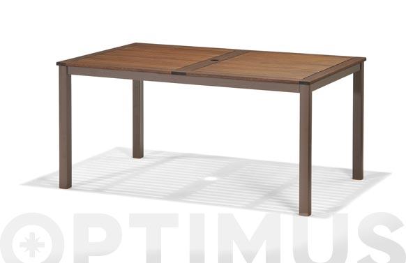 Mesa aluminio madera ibis 150 x 90 cm