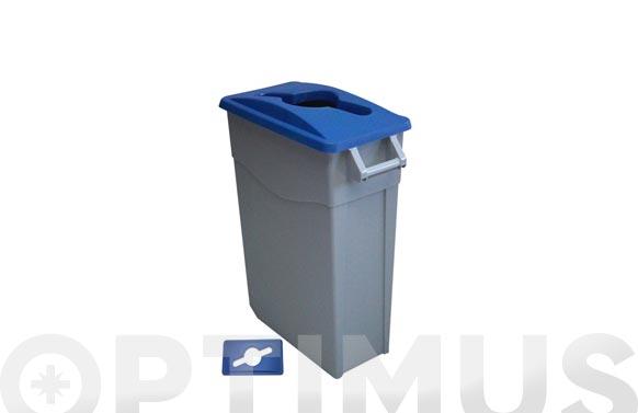 Contenedor basura gris zeus 65l tapa abierta azul