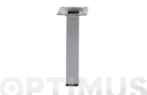 Pata para mesa cuadrada modelo 3 acero plata 25 x 25 x 100 mm