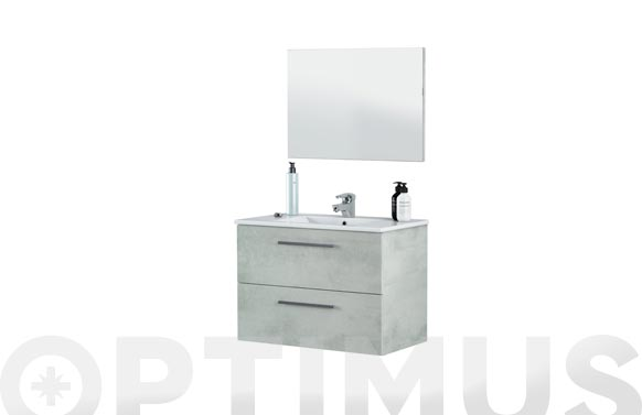 Mueble baño 80cm + espejo aruba cemento 80 x 57 x 45 cm