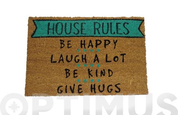 Felpudo coco house rules 40 x 60 cm