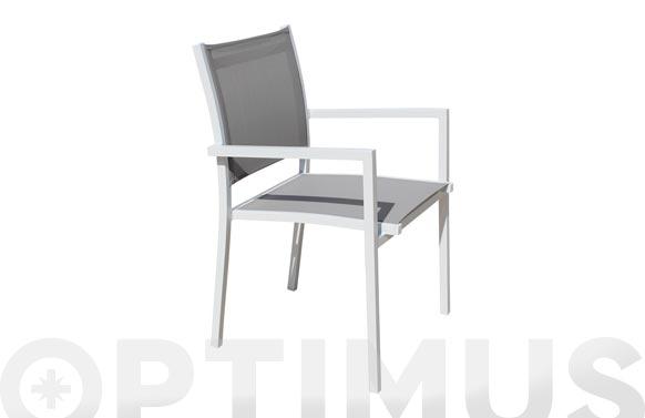 Sillon aluminio textilene light blanco/taupe