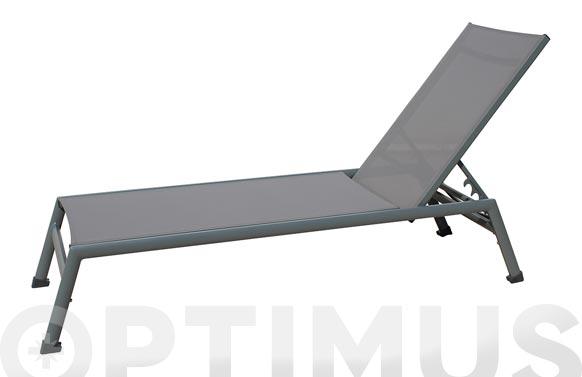 Tumbona aluminio textilene dark gris/marron