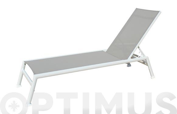 Tumbona aluminio textilene light blanco/taupe