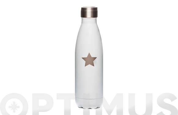 Botella isotermica blanca estrella plata fosforesc 500 ml