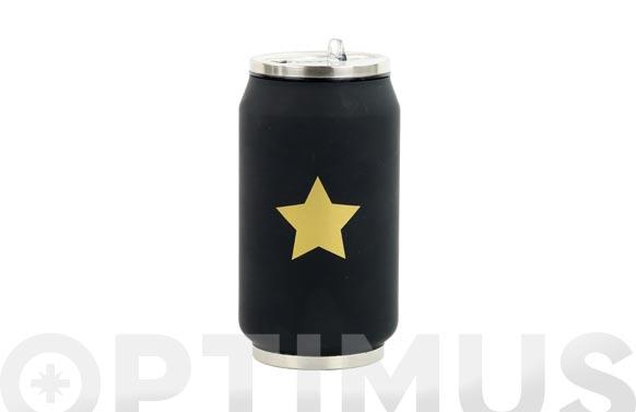 Lata isotermica negra estrella dorada 280 ml