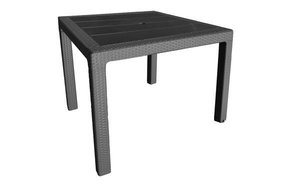 Mesa resina ratan elegance negro 80 x 80 cm