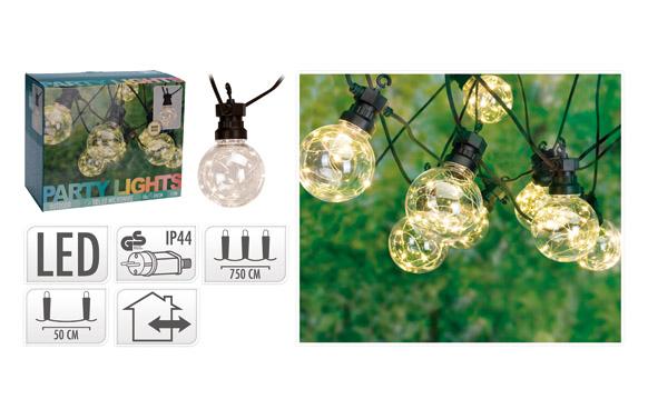 Guirnalda led 10 lamparas ø 5 cm microled luz blanca 3m
