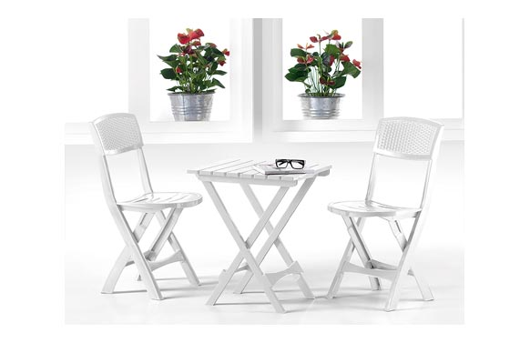 Mesa resina plegable 45x52 cm + 2 sillas plegables set roxy blanco