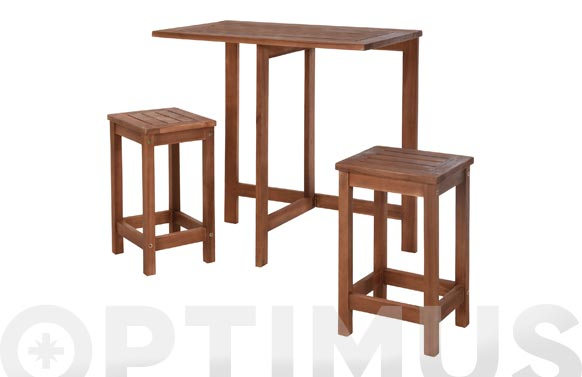 Mesa madera +2 taburetes acacia 47 x 75 cm