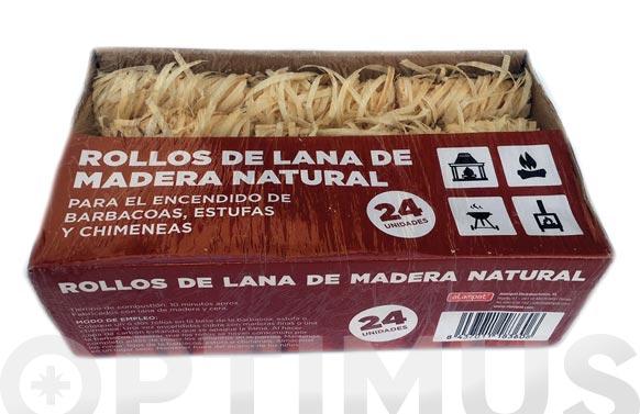 Lana madera de encendido pack 24 rollos