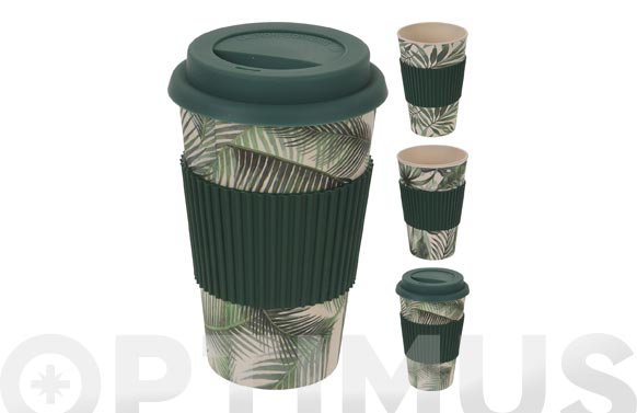 Mug bamboo con tapa surtido tropical 425 ml