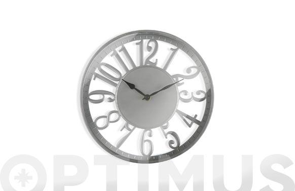 Reloj pared redondo plateado ø 30 cm