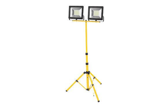 Foco proyector led 2 x 50 w con tripode 5000 lm luz fría ip65