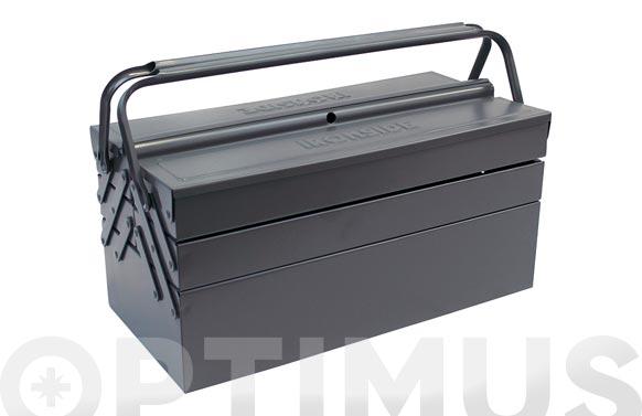 Caja herramientas metal gris 460 x 220 x 220 mm 5 compartimentos
