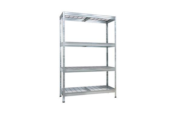 Estanteria metalica galvanizada baldas rejilla 4 baldas 180 x 120 x 45 cm