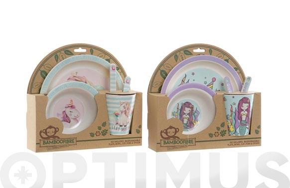 Vajilla infantil bambu set 5 piezas surtido niña sirena/unicornio