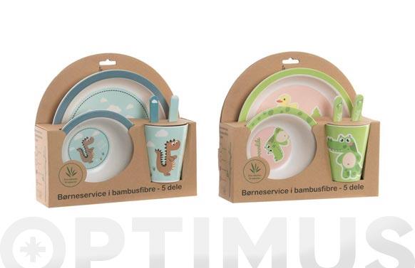 Vajilla infantil bambu set 5 piezas surtido dinosaurio/cocodrilo