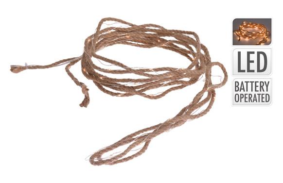 Cuerda leds a pilas blanca calida 5 m ø 5 mm