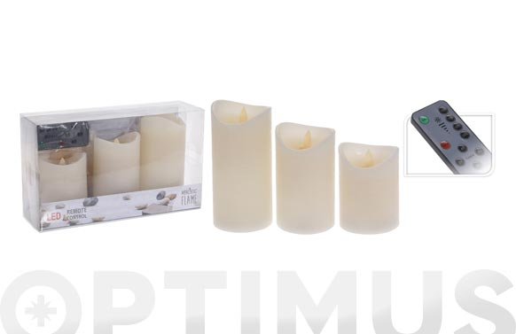 Velas cera led con mando set 3 u 7,5 x 10 x 12,5 x 15 cm natural