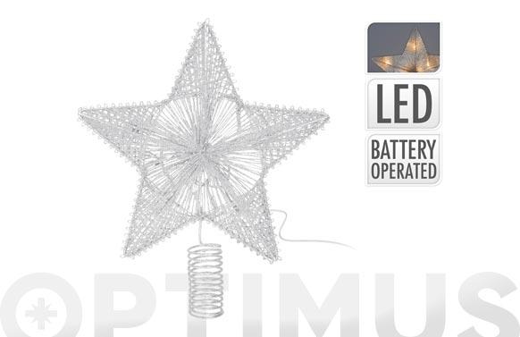 Estrella para arbol con leds 25 cm plata