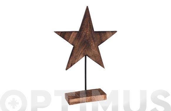 Estrella madera con base 25 x 35 x 7 cm