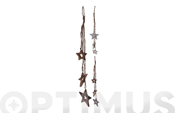 Colgante madera cuerda estrellas surtidas